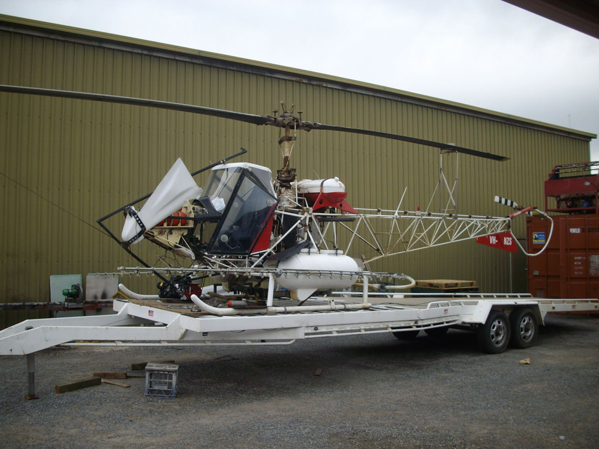 This custom built and and unique helicopter had agricultural spraying equipment installed by the Spare shop, which required the assembly and installation of unique mounting platform to carry the spray equipment.