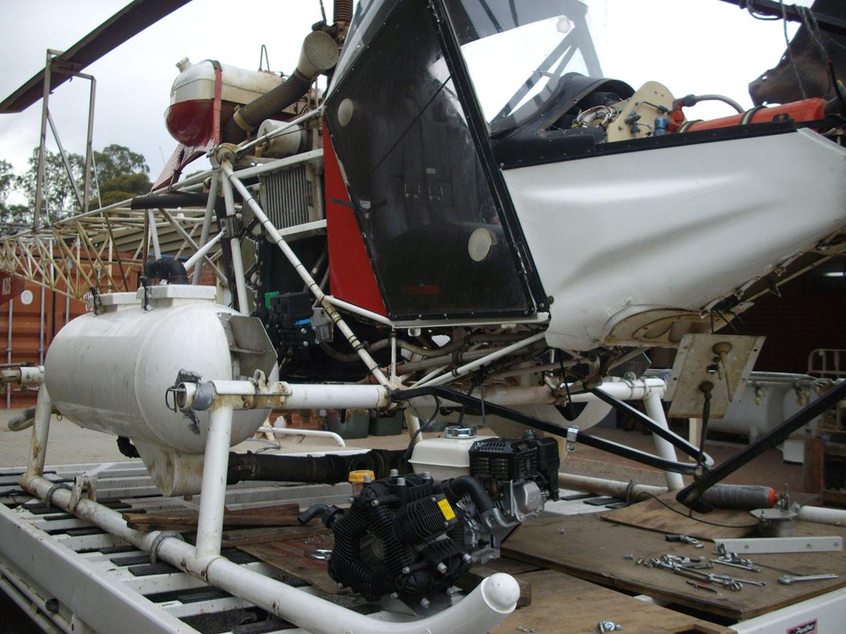 The spray tanks are mounted on custom built landing skis