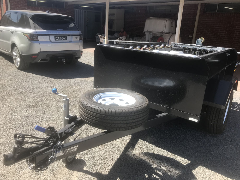 The Trial Plot spray trailer comes with a spare tyre - it pays to be prepared!