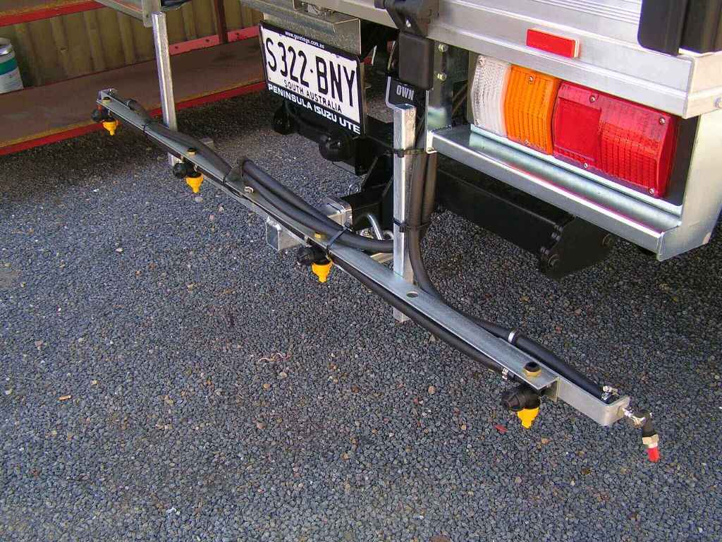 2 metre firebreak boom fitted to towbar to allow quick changeover if required