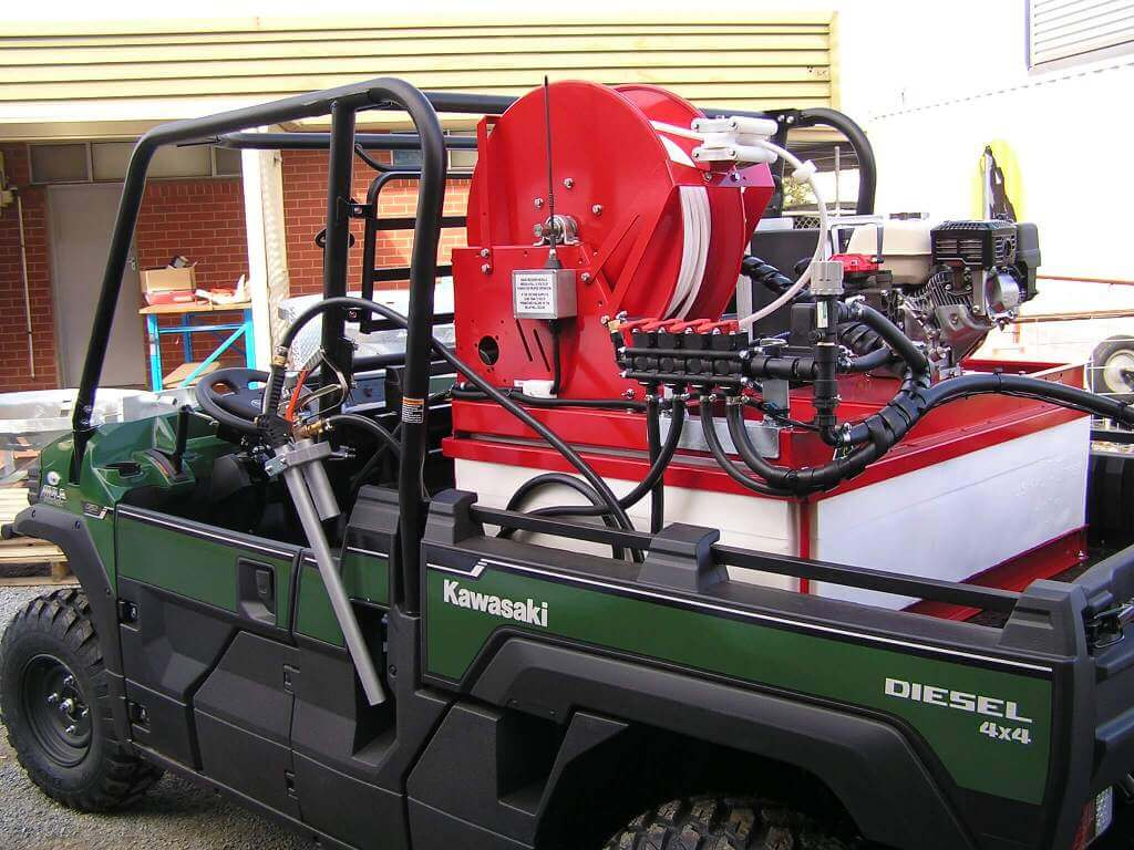 Built on the back of a Kawaskai Mule, a 550-litre tank electric start Honda Motor; 4-m boom chemical injection with twin handspray guns