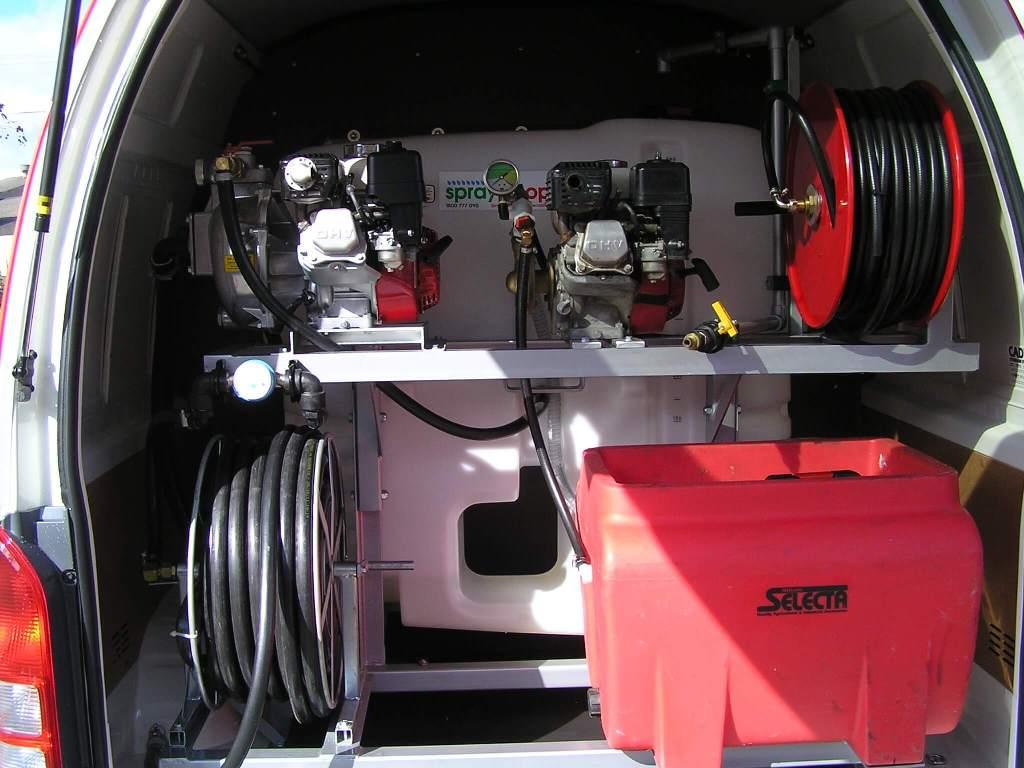 Custom made 500 litre tank and frame - GX200AR 30 pump with secondary pump, GX160 with Nova Pump, 500litre main tank and 50 litre secondary tank