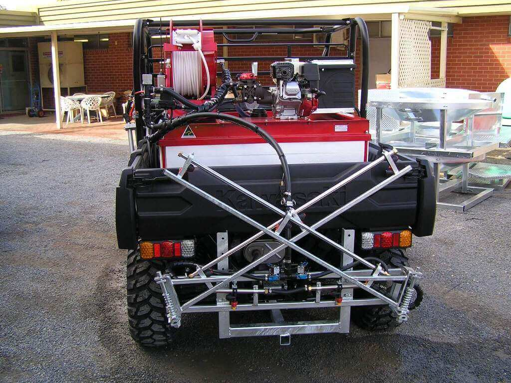 Customisation done for the City of Pt Pirie for maintenance of roadside furniture-a 550-litre tank electric start Honda Motor; 4-m boom chemical injection with twin handspray guns