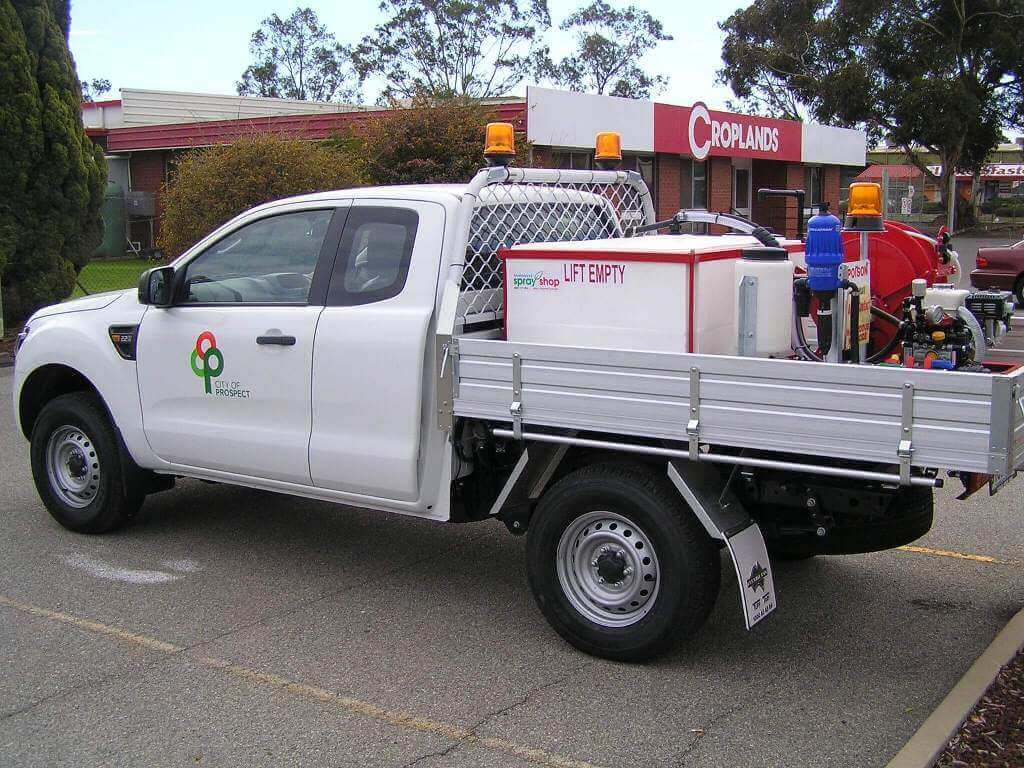 500 litre Quikspray unit with overhead fill built for Councils and used for parks gardens and footapths for weed control