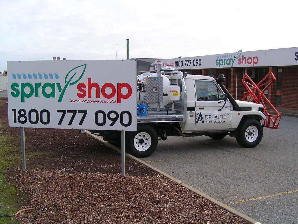 A Parks and garden turf sprayer mounted on a Toyota Land Cruiser for Adelaide Council