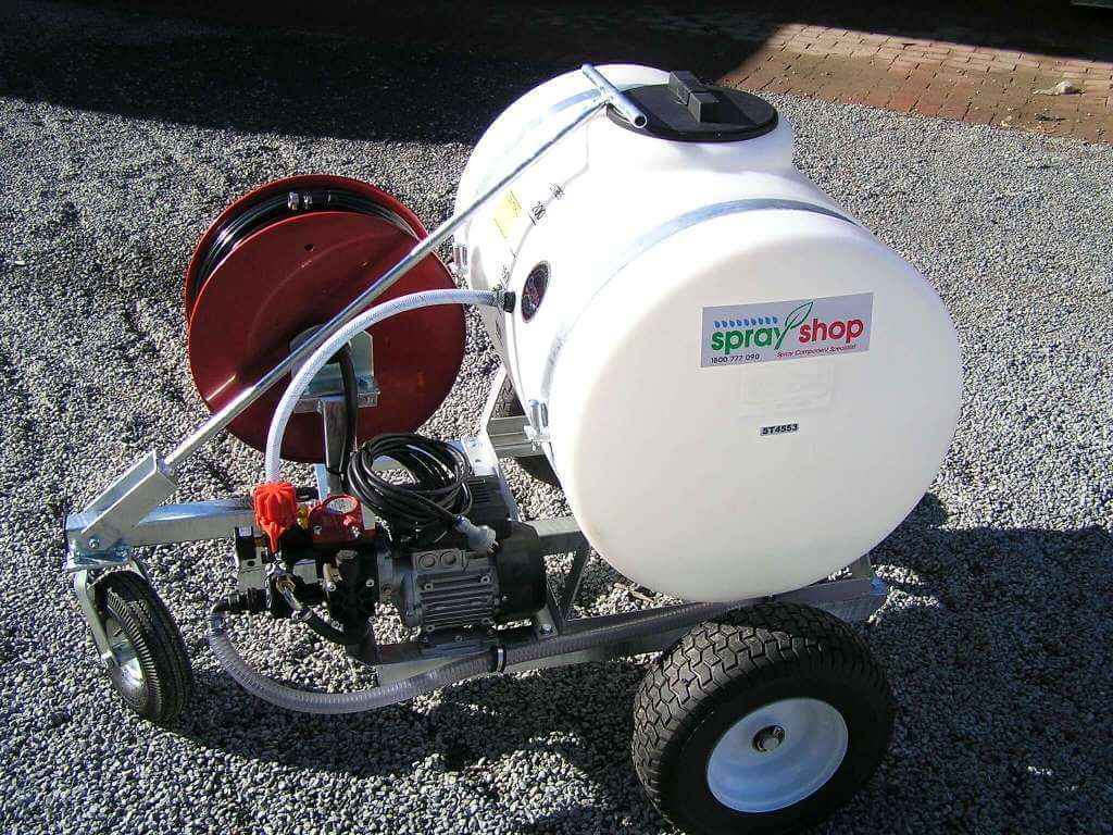 purpose built 200 litre tank with 100metre hose reel with AR252 electric pump, made for Bowling Green maintenance