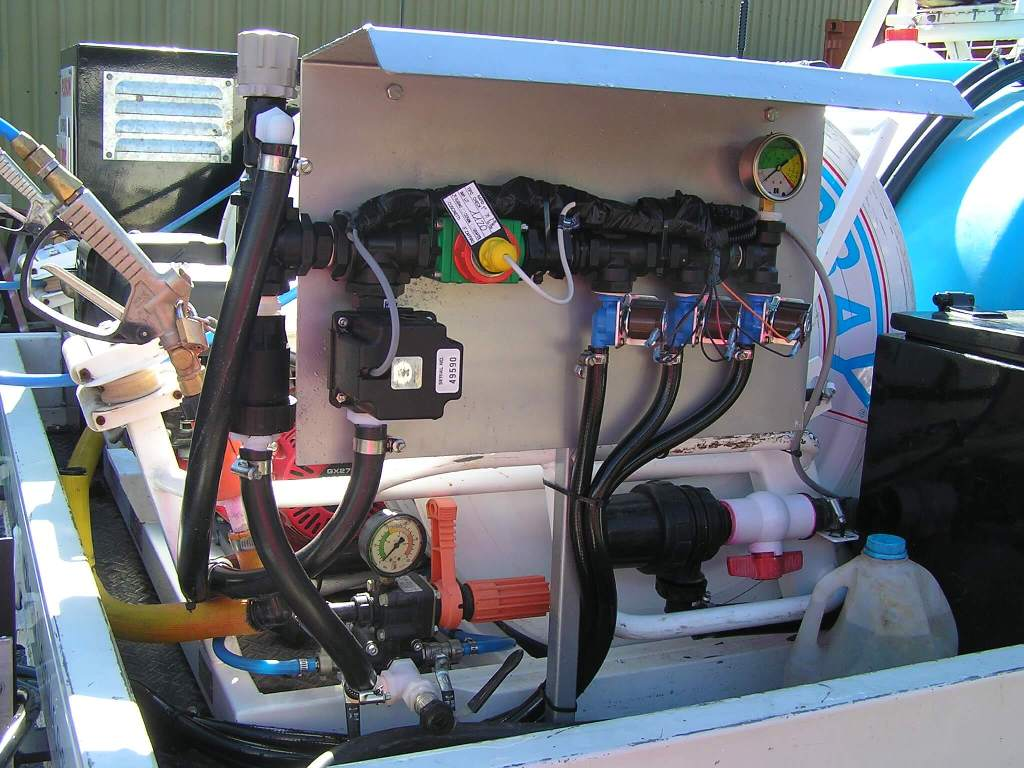 500 liter twin reel Quikspray unit, 6 metre rear folding boom with micro trak, auto rate spray controller with chemical storage and dosing unit mounted on Toyota land cruiser for Horticultural and agricultural use